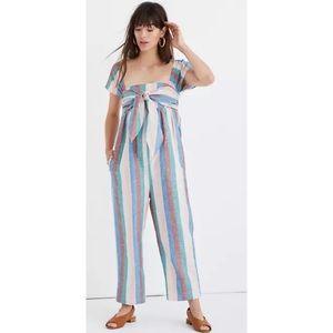 Madewell CapSleeve Tie Jumpsuit Flagstaff Stripe